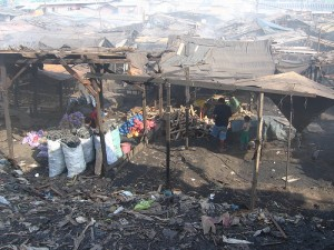 People Burning Wood in the Dumpsite