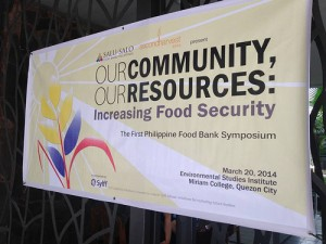 the first food bank symposium in the Philippines, Our Community, Our Resources: Increasing Food Security