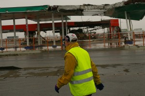 Charles Passing By a Damaged Gas Station--A Year After the Tsunami