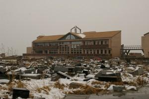 An Elementary School and Fallen Tombs in Yamamoto, Miyagi--A Year After the Tsunami