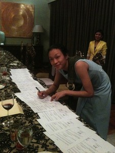 One of the Founding Members, Sherilyn Siy, Signs the Incorporation Documents
