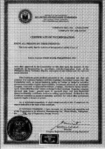 Certificate of Incorporation for Salu-Salo: Food Bank Philippines!